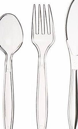 AmazonBasics Combo Plastic Cutlery 150 Set (50 forks, 50 spoons, 50 knives)