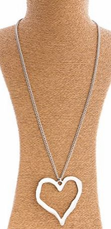 AMEA Large Silver Plated Chunky Heart Pendant and Long Chain Costume Jewellery Necklace