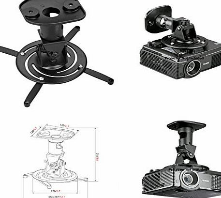 Amer Mounts AMER Projector Mount - Heavy Duty Universal Ceiling Bracket LCD DLP Tilt 360° Swivel 30lbs (Black)