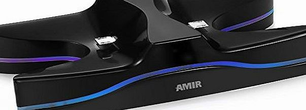 Amir Charging Dock Station, Streamline Shape with 4 Controllers, Dual Charger Ports, Auto Changing LED, for PS4 Playstation (Black)