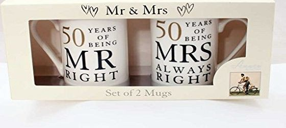 Amore by Juliana 50th Anniversary Gift Set of 2 China Mugs Mr Right amp; Mrs Always Right