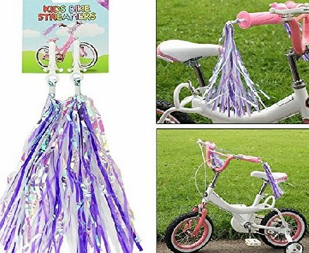 Bicycle Bike Cycle Tricycle Trike Fun Kids Girls Childrens Handlebar Sparkle Retro Streamers Tassels Pink Blue Purple Red Gold 2 Pack (Red)
