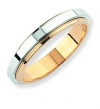 Ampalian Jewellery 9 carat Gold 4mm Two Tone Flat Court Wedding Ring