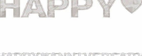 Amscan International Happy Anniversary Banner Large Letter Silver