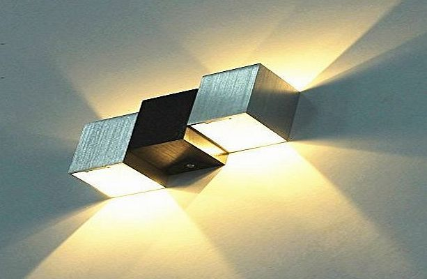 Amzdeal Modern Aluminum 6W Up Down LED Wall Lights Wall Lamp Wall Sconce for Bedroom,Living Room and Kitchen(Warm White, Black amp; White Cubic Body)