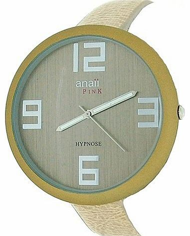 Hypnose Champagne Dial Narrow Beige PU Strap Ladies Watch AP628