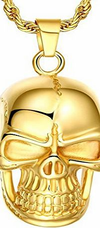 AnazoZ  Fashion Jewelry Luxury 18k Gold Filled Skull Pendant Men Stainless Steel Golden Necklace Chain Simple