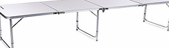 Ancheer 8FT Aluminum 4-In-1 Portable Folding Utility Table with Carrying Handle for Kitchen Garden Party Picnic Camping, White