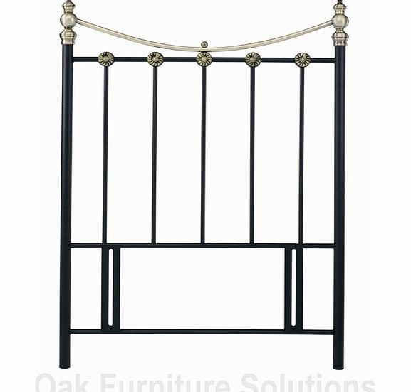 Matt Black/Antique Brass Headboard - 90cm