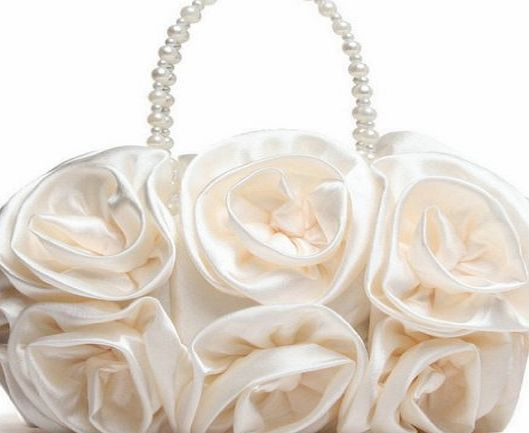 ANDI ROSE Luxury Fashion Satin Flowers Designer Clutch Wedding Evening Ladies Bags Handbags (Beige)