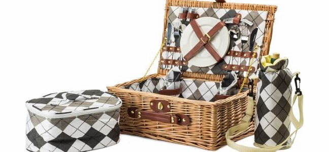 2 Person Premium Traditional Wicker Picnic Hamper With Elegant Chequered Lining, Ceramic Plates, Stainless Steel Cutlery And Glass Wine Glasses. Includes Cooler Bag And Wine Cooler Bag