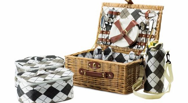 4 Person Premium Traditional Wicker Picnic Hamper With Elegant Chequered Lining, Ceramic Plates, Stainless Steel Cutlery And Glass Wine Glasses. Includes 2 Cooler Bags And A Wine Cooler B