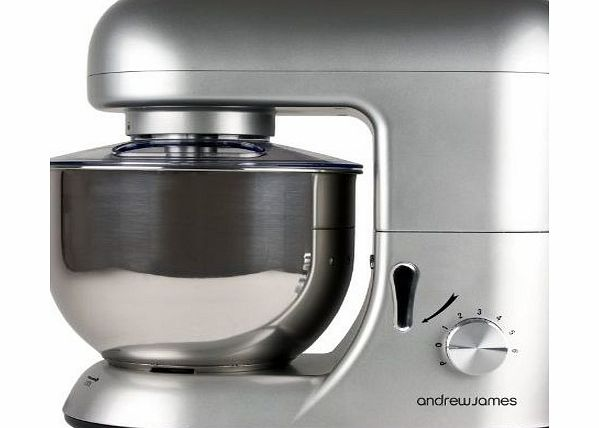 Andrew James Electric Food Stand Mixer In Stunning Silver, Includes 2 Year Warranty, Splash Guard, 5.2 Litre Bowl, Spatula And 128 Page Food Mixer Cookbook