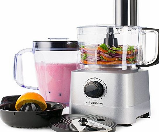 Andrew James Food Processor In Silver, 700 Watts, 7 Attachments, 1.4L Processor Bowl, 1.8L Blender Jug