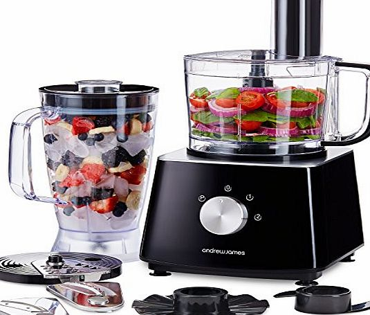Andrew James Food Processor with Blender in Black, 700 Watts, 6 Attachments, 2L Processor Bowl, 1.8L Blender Jug
