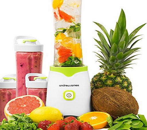 Andrew James Green Family Fit Smoothie Maker 250W Personal Blender - Includes 2 x 600ml and 2 x 300ml BPA Free Sports Bottles - 2 Year Warranty