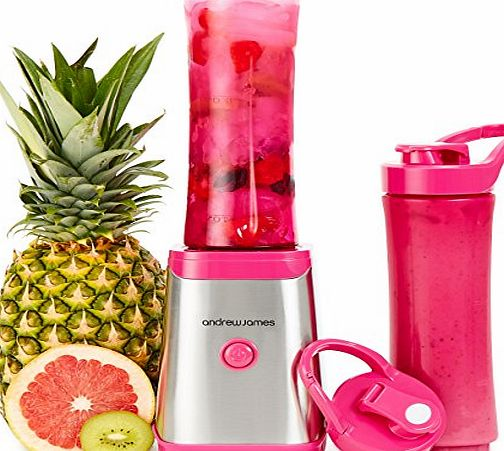 Andrew James Pink Sports Smoothie Maker 250W Personal Blender With 2 x 600ml BPA Free Sports Bottles - 2 Year Warranty