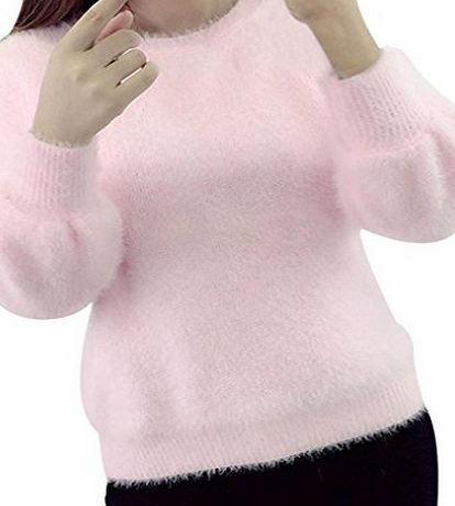 Anglewolf Womens Fashion Clothes Long-Sleeved Knitwear Loose Sweater (Pink)