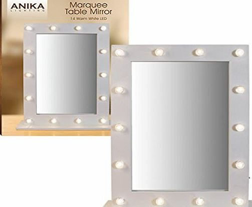 Anika Battery Operated Free Standing LED Marquee Mirror, Warm White
