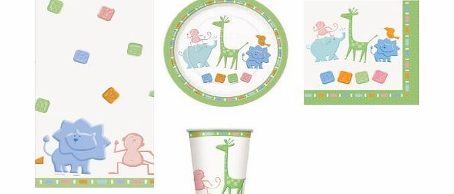 Animal BABY SHOWER PARTY TABLEWARE PACK NEUTRAL FOR BOY OR GIRL ANIMAL CRACKERS DESIGN NAPKINS PLATES CUPS TABLECOVER