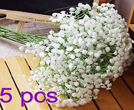 ANKKO Artificial Flowers White Gypsophila Home Party Wedding Decor Flowers (5pcs)