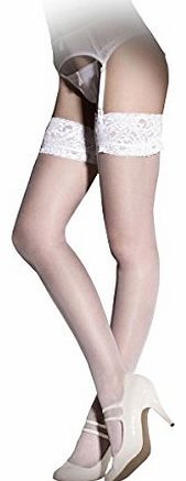 Ann Summers Womens Lace Top Glossy Stockings White Thig High Ladies Tights Sexy