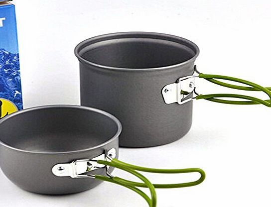 Portable Outdoor Cooking Set Anodised Aluminum Non-stick Pot Bowl Cookware Camping Picnic Hiking Utensils camping cooking equipment