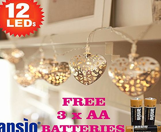 ANSIO 12 Yellow Warm White Silver Filigree Heart Indoor Fairy Lights - Battery Operated - Ideal for Christmas, Festive, Wedding/Birthday Party Decorations - Total 1.7m Clear Cable - Batteries Included
