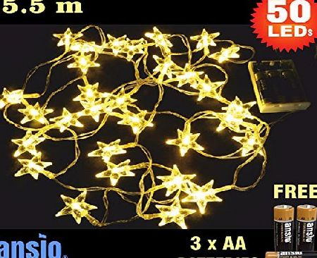 ANSIO 50 Warm White Clear Star LED Fairy Lights Battery Operated Total 5.5m Clear Cable Batteries Included