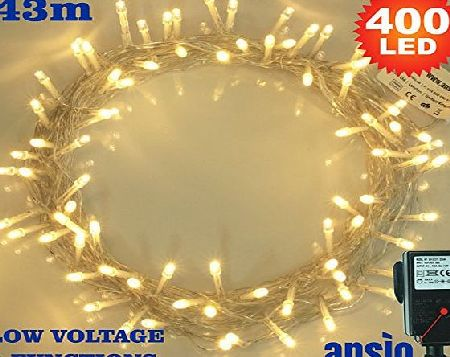 ANSIO Christmas Tree Lights 400 Warm White Indoor Fairy Lights - LED String Lights - 8 Functions/43 Meters - Power Operated - Ideal for Christmas Tree, Festive, Wedding/Birthday Party Decorations (400 LED 4