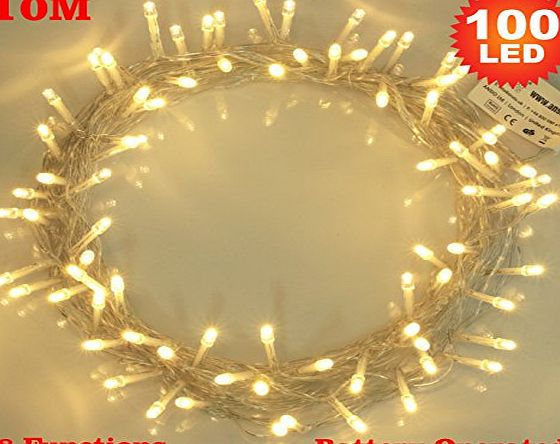 ANSIO Fairy Lights 100 Warm White Christmas Tree Lights Indoor LED String Lights - Battery Operated - 8 Functions 10m/33ft Lit Length with 1m Lead Wire - Ideal for Christmas Tree, Festive, Wedding/Birthday