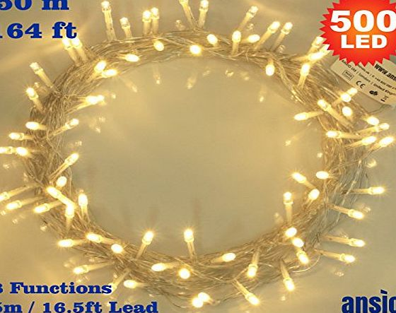 ANSIO Fairy Lights 500 LED Warm White Outdoor Christmas Tree Lights String Lights - 8 Functions 50m / 164ft Power/Mains Operated Ideal for Christmas Tree Festive Wedding Birthday Party amp; Bedroom Decorat