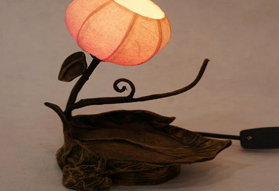 Mulberry Rice Paper Ball Handmade Twig Leaf Design Art Shade Red Round Globe Lantern Brown Asian Oriental Decorative Accent Home Decor Bedside Rustic Bedroom Mini Table Desk Lamp