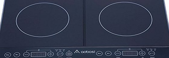 Aobosi Digital Electric Double Induction Hob 2800 Watts Fashion Black Crystal Glass LED Display with Sensor Touch Control Safety with Child Lock Function