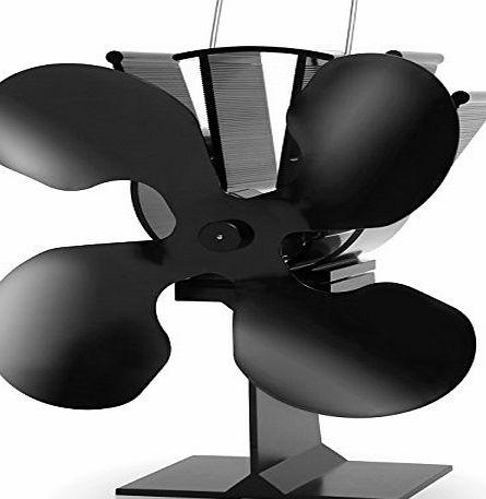 Aobosi Fireplace Heat Powered Wood/Log Stove Fan for Log Burning Fireplaces HL-800A 4 Blades