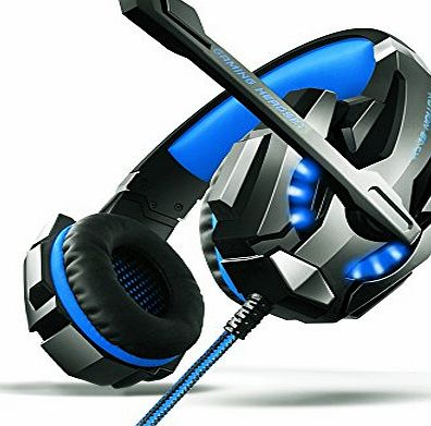 AOSO G9000 Gaming Headset PS4 PC LED Light Over-Ear Headband Headphone For PS4 PC Laptop Xbox One With Mic amp; Volume Control And 3.5mm Audio Jack Y Cable Adapter (Black amp; Blue) - Retail Packagi
