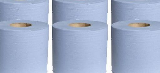 AP Automotive 6 x Blue Paper Rolls - 2 Ply Embossed Centre Feed - Hand Towel - 130 Metre