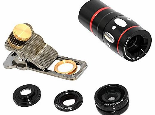 4-in-1 Universal Clamp Fish Eye, Macro Wide Angle and 10X Telescope Lens for iPhone 4/4S/5S/5C/Samsung - Black
