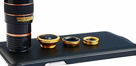 4-in-1 Wide Angle Macro 8x Telephoto Lens with Back Cover Case for Samsung Galaxy Note 4 - Golden