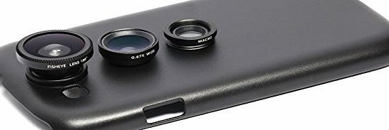 Detachable 3 in 1 Screw-in Wide Angle Macro Lens + Fisheye Lens with Back Case Cover for Samsung Galaxy S3 I9300 Black