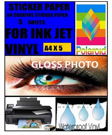 Apl Chemicals 5 GLOSS WHITE A4 INKJET SELF ADHESIVE STICKERS PHOTO QUALITY VINYL COATED