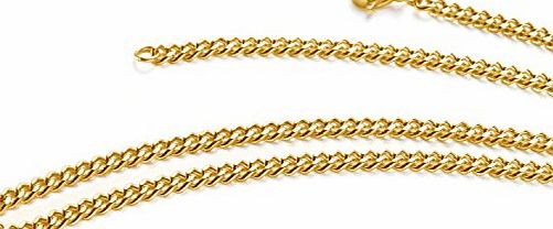 Aplstar 18ct Gold Necklace 3.5mm thick Curb Chain Size: 16 18 20 22 24 30 inch/40 45 50 55 60 75 cm (24 IN)