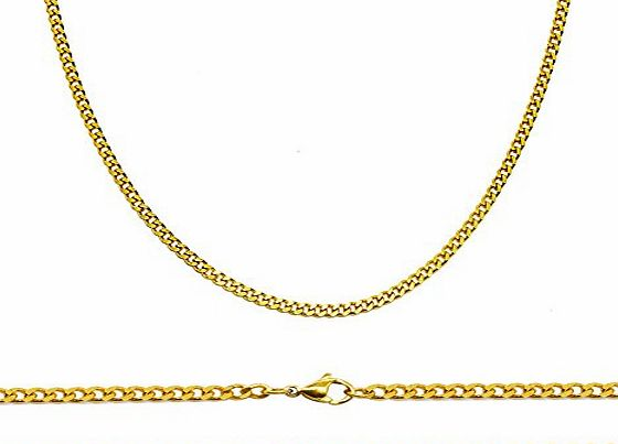 Aplstar Solid Gold Curb Chain Necklace 2mm thick 18ct Real Gold Plated Size: 16 18 20 22 24 inch/40 45 50 55 60 cm (75.00)