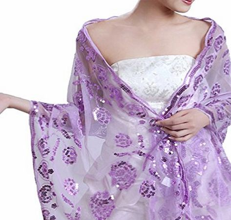 APTRO Womens Lace with Sequin Transparent Wedding Shawl Light Purple