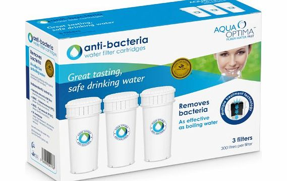 Aqua Optima ABS303 90 Day Anti-bacteria Water Filter, as effective as boiling water,3 pack - 9 months supply