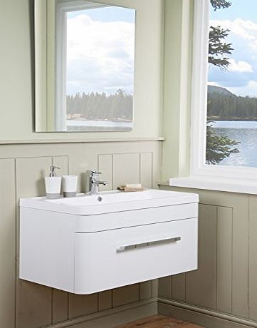 Aquariss Designer 800mm Bathroom Wall Hung Vanity Unit Furniture, Basin amp; FREE Mirror - White