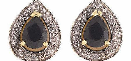 9ct Gold Black Sapphire and Diamond Stud Earrings