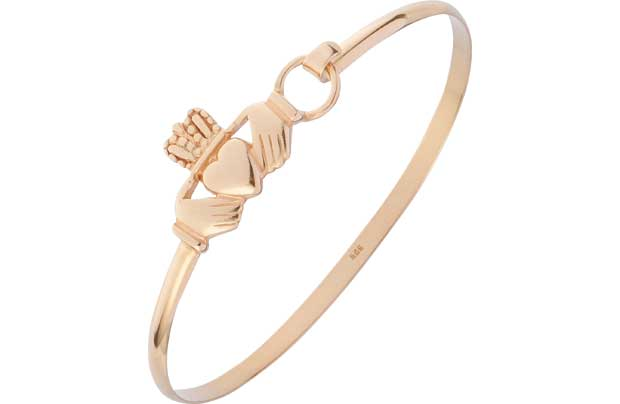 9ct Gold Plated Silver Claddagh Friendship Bangle