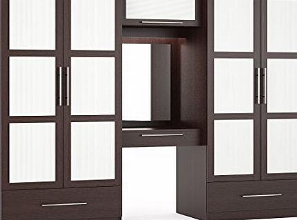 Marbella Bedroom Furniture - Large Wardrobe Fitment with 4 Doors, Chest of Drawers, Overhead Storage, Mirror (Wenge)