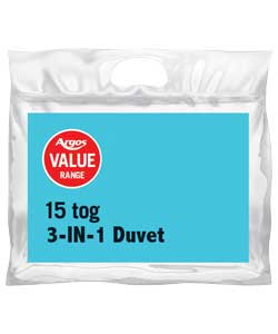 argos Value Range 15 Tog 3 in 1 Duvet Kingsize Bed